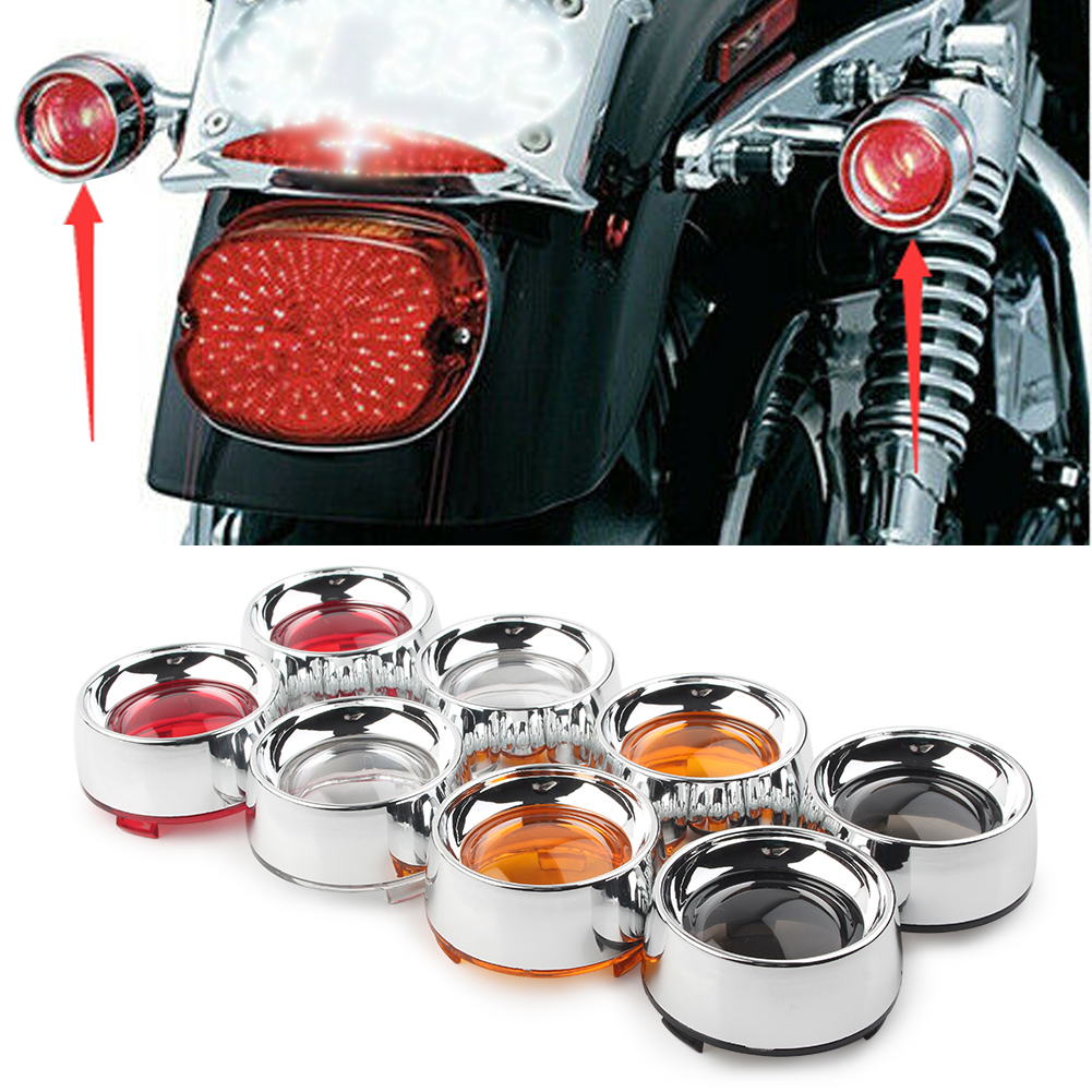 Motorcyle Turn Signal Amber Lens Chrome Trim Ring Bezels Visor For Harley Touring Dyna Softail Sportsters 2000  model 2Pcs