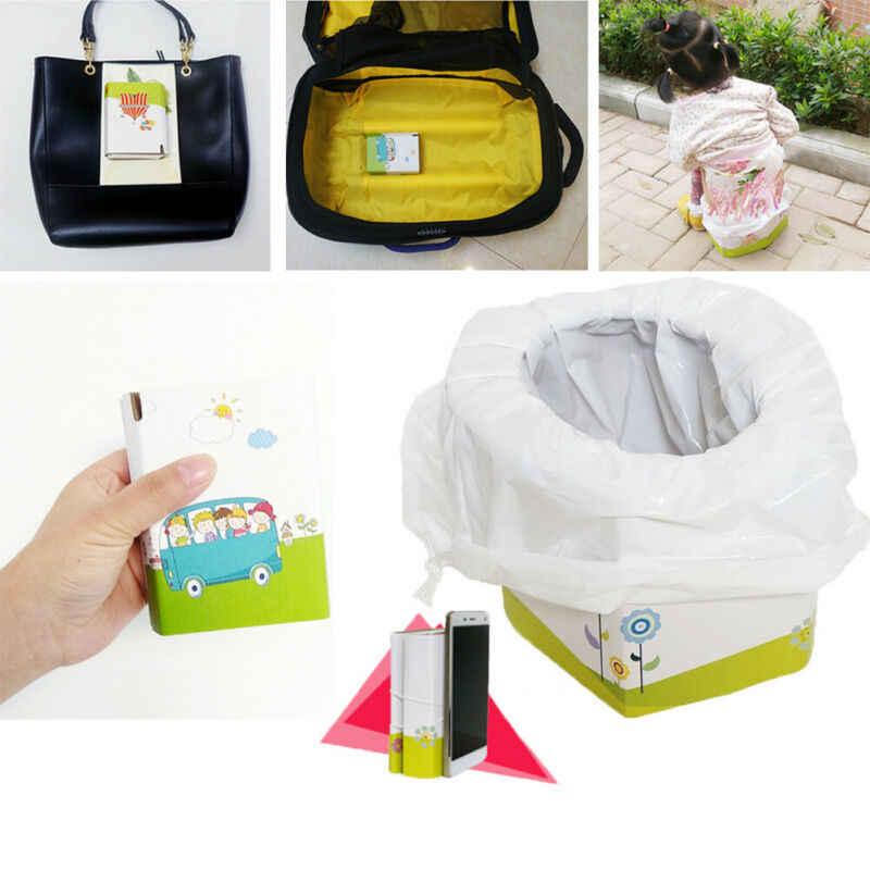 Niños bebé portátil orinal de emergencia plegable portátil niño inodoro de viaje carga-rodamiento 30kg