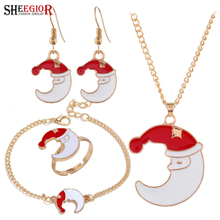 Lovely Enamel Santa Claus Dangle Earrings Ring Necklace Bracelets Jewelry Sets Merry Christmas Moon Jewelry Set Accessories Gift fashion christmas gold jewelry set santa claus necklace bracelet earring ring jewelry sets gift for christmas day 2019 new