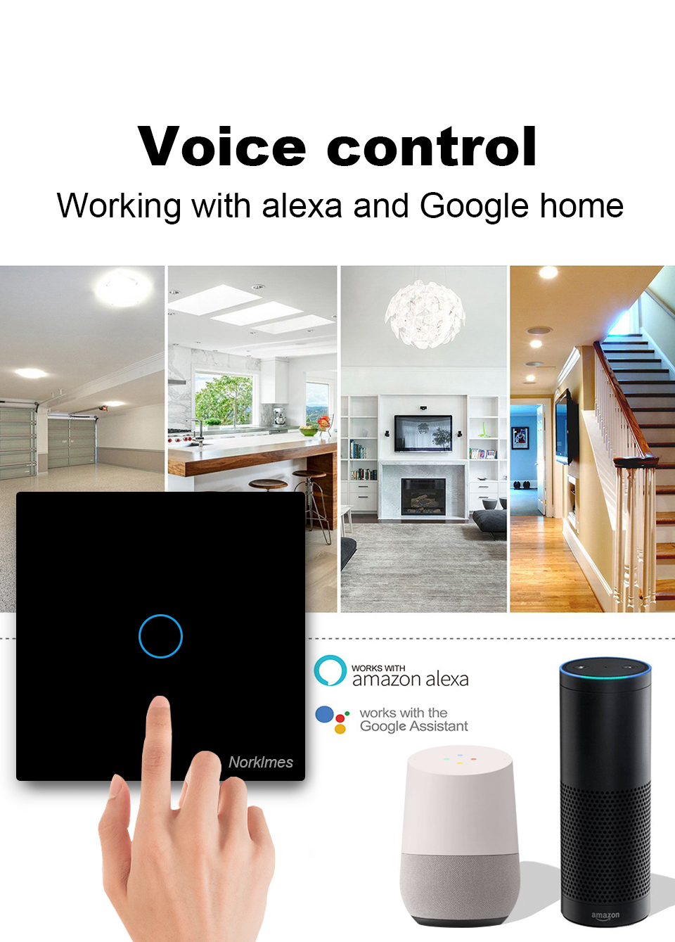 Touch Switch LED light switch Smart Light Wall interruptor 2 way 1/2/3/4 Gang wifi  220v Fan switch Work with Alexa Google