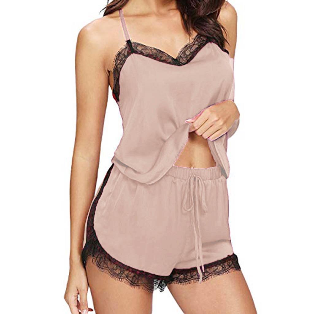 Women Ladies Patchwork Casual Sleepwear Female Sleeveless Strap Nightwear Lace Trim Satin Cami Top   Pajama     Sets   2019