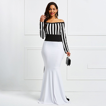 Maxi Sheath Dress Elegant Women Off Sholuder Long Sleeve Stripes Color Block White Black Bodycon Mermaid Christmas Party Dress