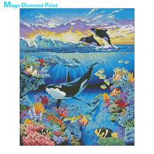 animal killer whale Moge Diamond Painting Full Round sea world New DIY sticking drill cross stitch 5D embroidery home decorative