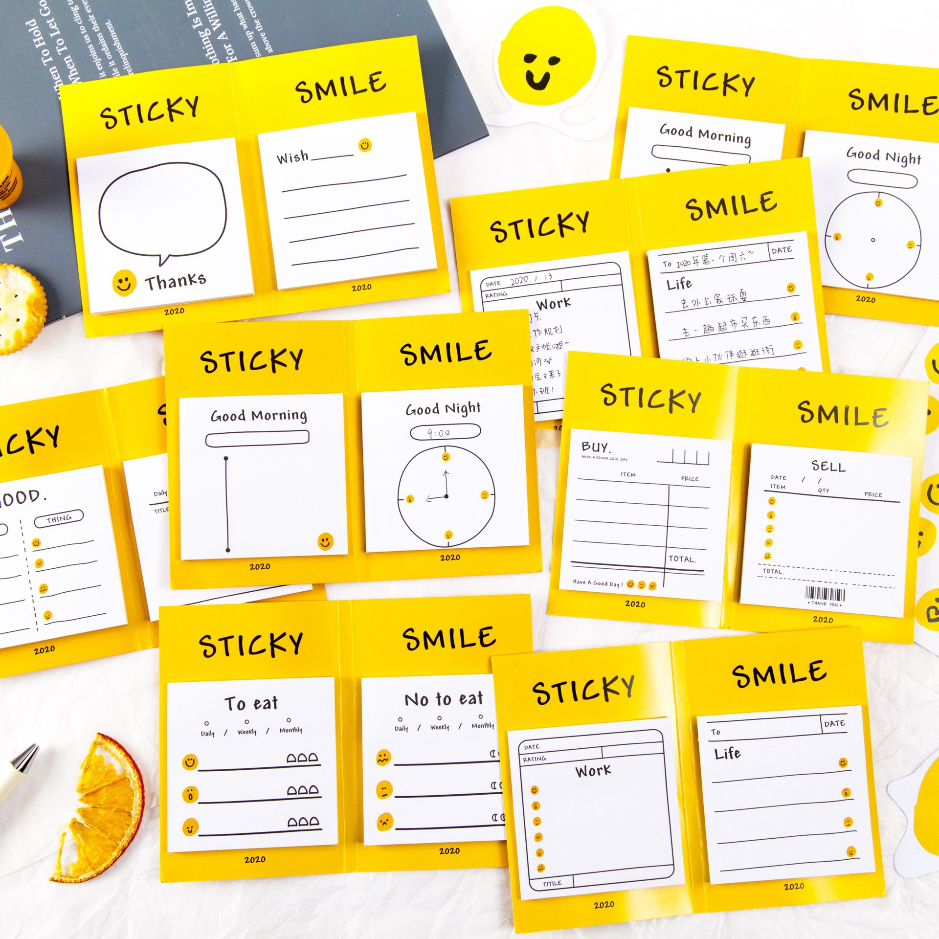 1set/lot Memo Pads Sticky Notes Little Smiley Paper Diary Scrapbooking Stickers Office School Stationery Notepad