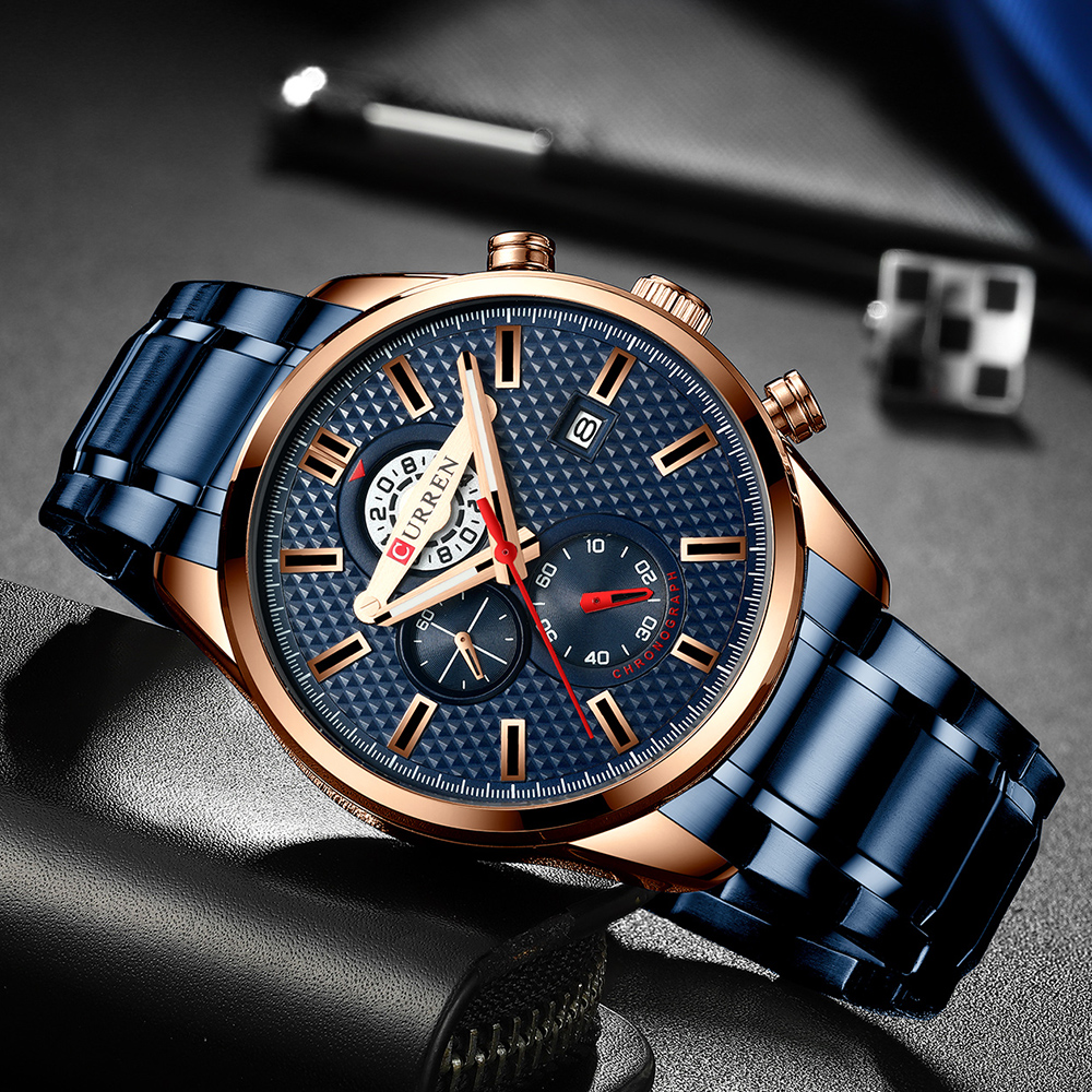 CURREN Business Men's Watch New Fashion Blue Quartz Wristwatch Sports Stainless Steel Chronograph Clock Causal Watches