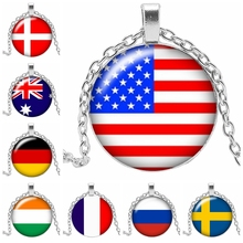 2019! New Hot Sale National Flag Pattern Glass Convex Round Fashion Necklace Pendant Symbolic Jewelry Gift