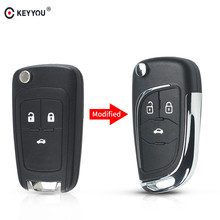 KEYYOU Modified Filp Car Key Shell Fob Remote Case For Chevrolet Cruze Epica Lova Camaro Impala 2 3 4 5 Button HU100 Blade