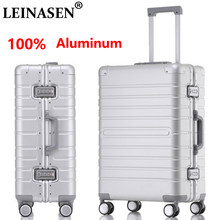 "LEINASEN sale 20""24""28"" inch 100% aluminum rolling luggage business travel suitcase aluminum spinner trolley bag on wheel(China)"