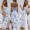 Womens Summer Boho Maxi Long Dress Beach Dresses Sexy V Neck Off Shoulder Floral Halter Dress Backless Bow 1