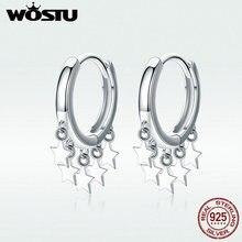 WOSTU, настоящие 925 пробы, серебряные серьги-кольца, серьги с кисточками и звездами для женщин, свадебные модные серьги, 925 ювелирные изделия, BKE684