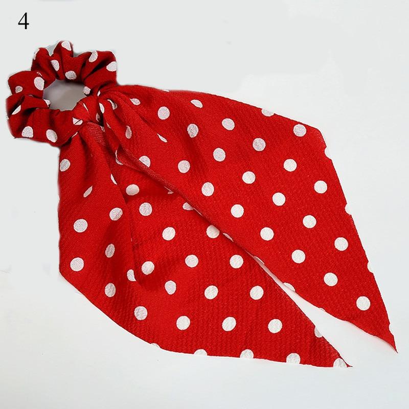 Femmes banderoles chouchous à pois imprimé Floral élastique noeud cheveux corde fille cheveux cravates coréen doux cheveux accessoires chapeaux 44