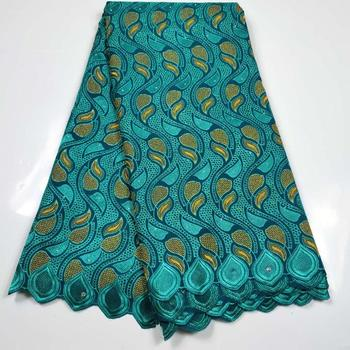 2020 High Quality Green African Lace Swiss Cotton Lace Fabric Design Swiss Voile Lace In Switzerland For Nigerian Party 5 yards