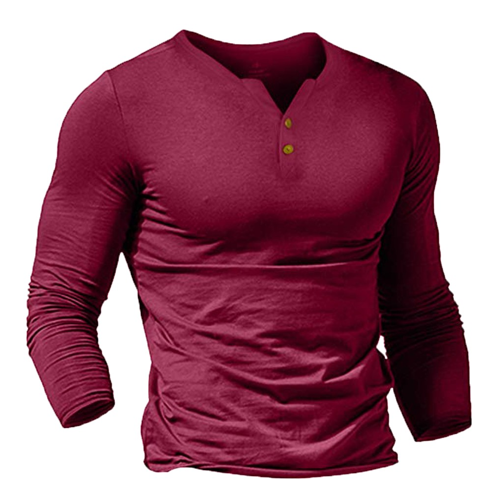 t shirt men solid autumn and winter long sleeve Men 39 s New Style Fashion Pure Long Sleeve Top Button Long Sleeve Blouse Top in T Shirts from Men 39 s Clothing