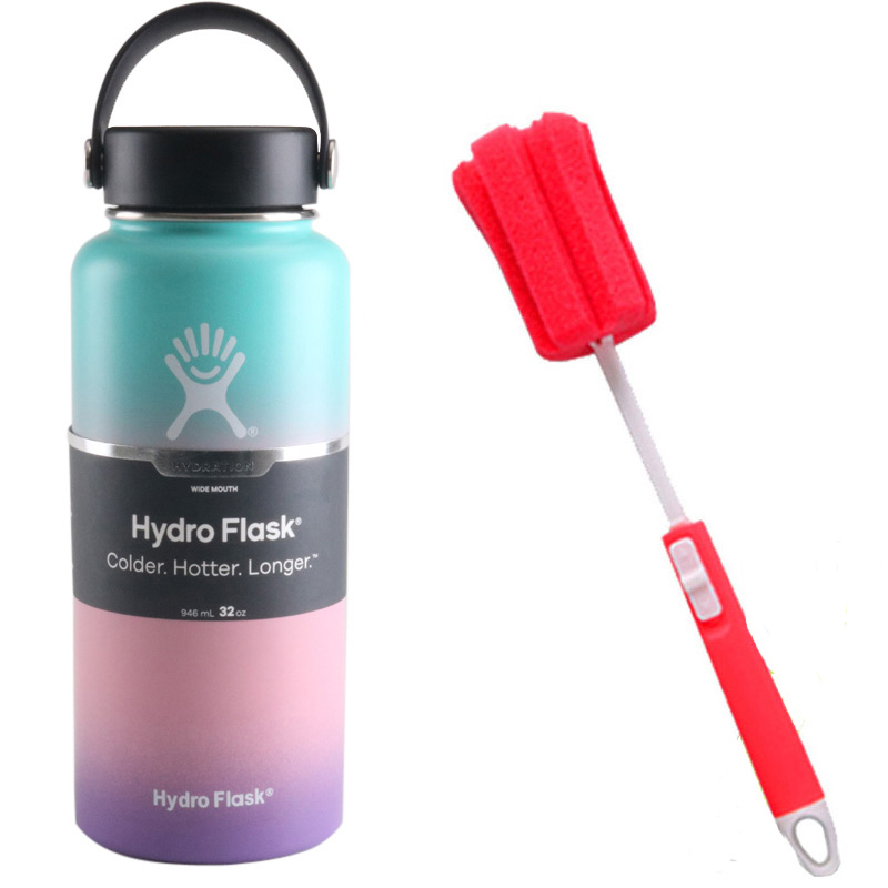 Hydro Flask Water Bottle With Sponge Brush Stainless Steel Insulated Sports Water Bottle Wide Mouth water bottle18oz/32oz/40oz image