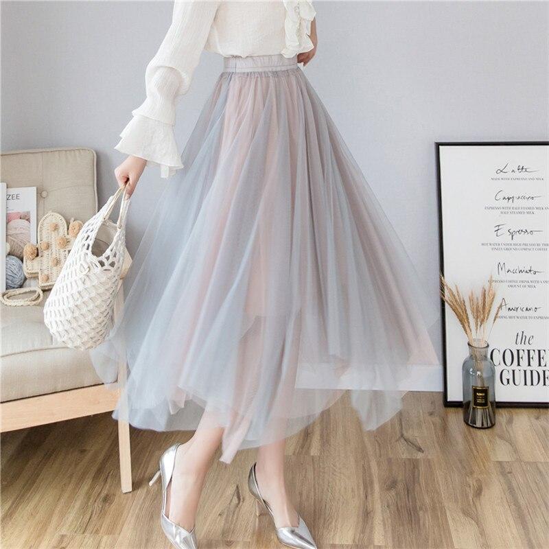 Autumn 2019 New Gauze Midi Skirts Irregular Net +lining High Waist Pleated Tulle Skirt Elstic Wasit Women Long