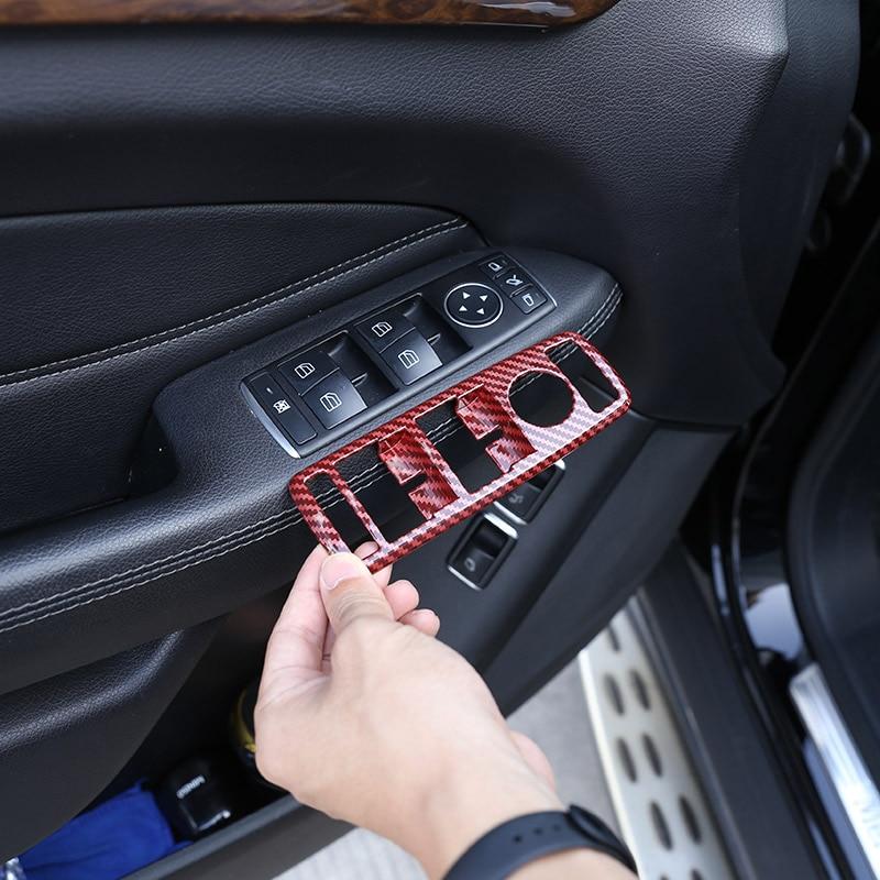 Mercedes Benz için bir B C E sınıfı GLE GLA CLA GLK W246ABS kırmızı karbon Fiber pencere asansör anahtarı düğmesi çerçeve Sticker araba aksesuarları