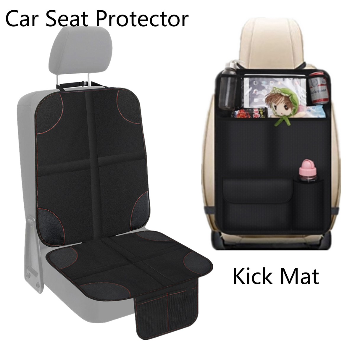 Car Seat Protector + Kick Mat Baby Travel Kick Mat & Seat Cover Waterproof  Rear Seat Organizer Storage Pockets