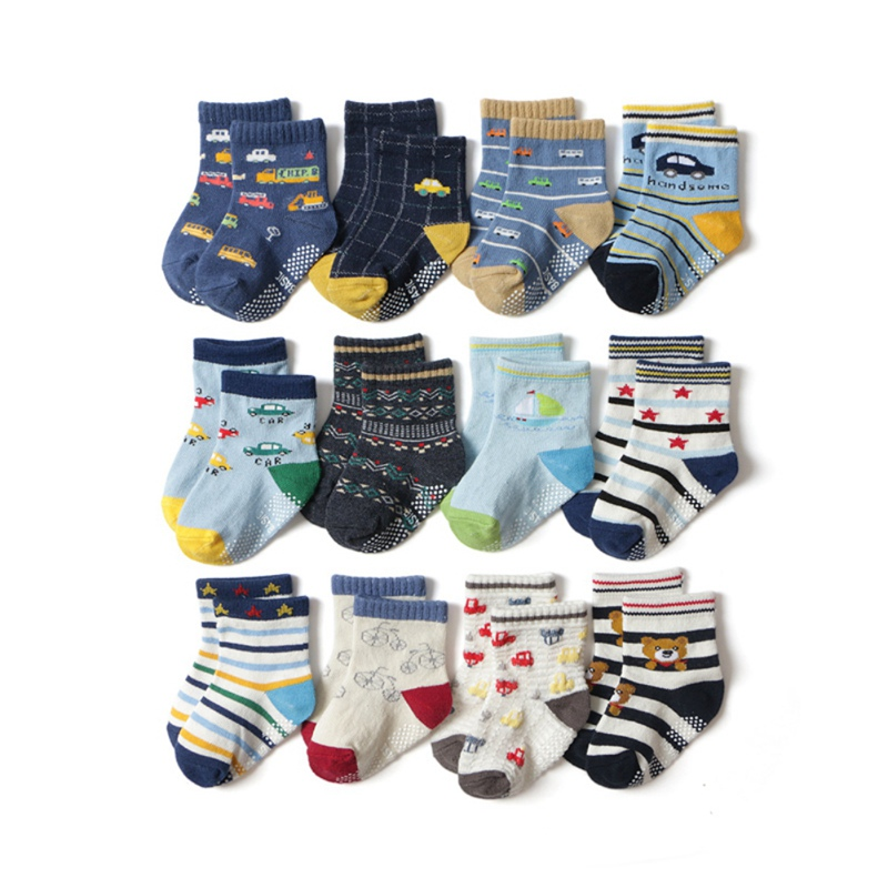 12 Pair Baby Boys Girls Socks Cartoon Striped Pattern Children's Socks Kids Cotton Autumn Warm Floor Anti-slip Sock Infant