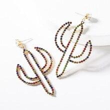 2019 New Fashion Handmade Desert Cactus Plant Acrylic Multicolored  Rhinestone Crystal Statement Drop Dangle Earrings For Women