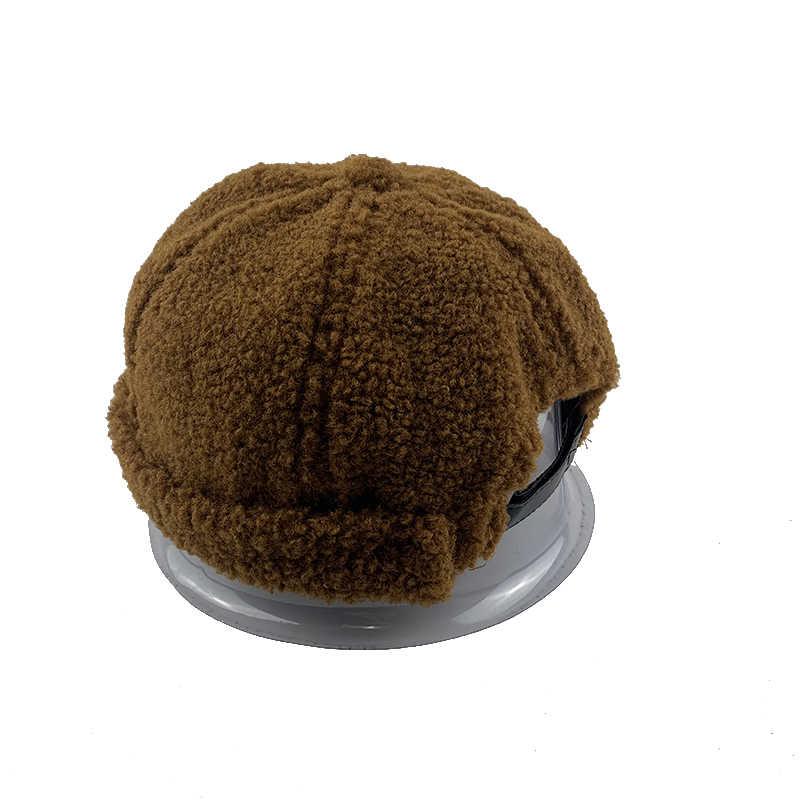 Erkek kadın sonbahar kış Skullcap rahat Docker denizci şapkası Brimless hip-hop şapka düz renk sıcak kasketleri