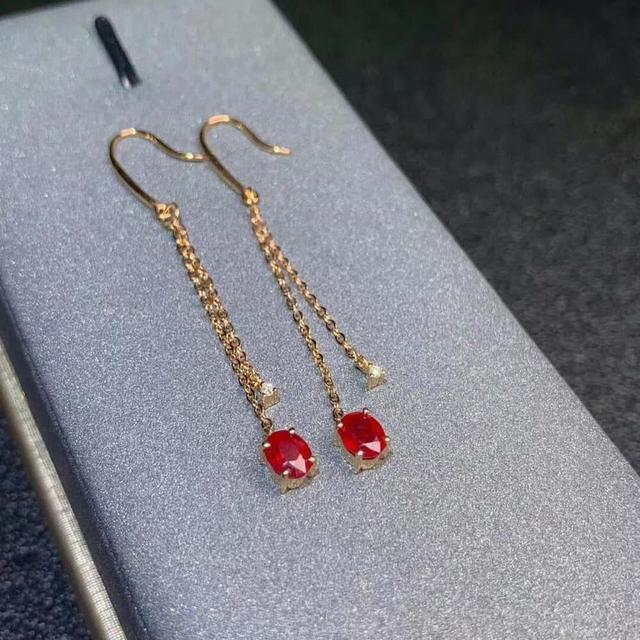 shilovem 18k rose gold real Natural ruby Gemstone drop earrings plant women fine new Christmas Gift 4*5mm  de0405881h 4