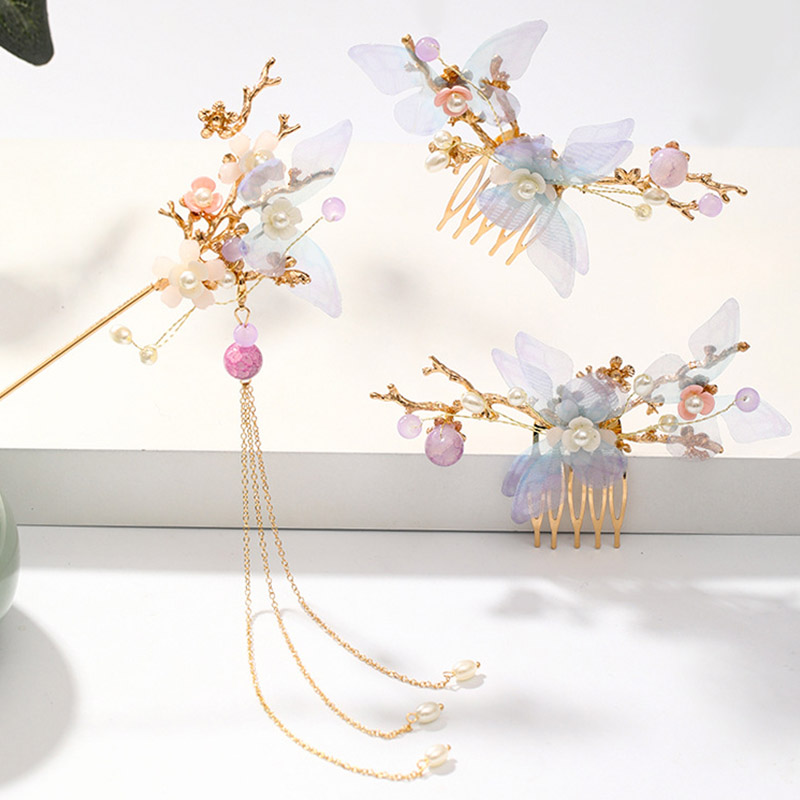 FORSEVEN Women Girls Flower Pearls Long Tassel Headpieces Hairpins Sticks Hair Combs Jewelry Sets Chinese Hair Accessories 2