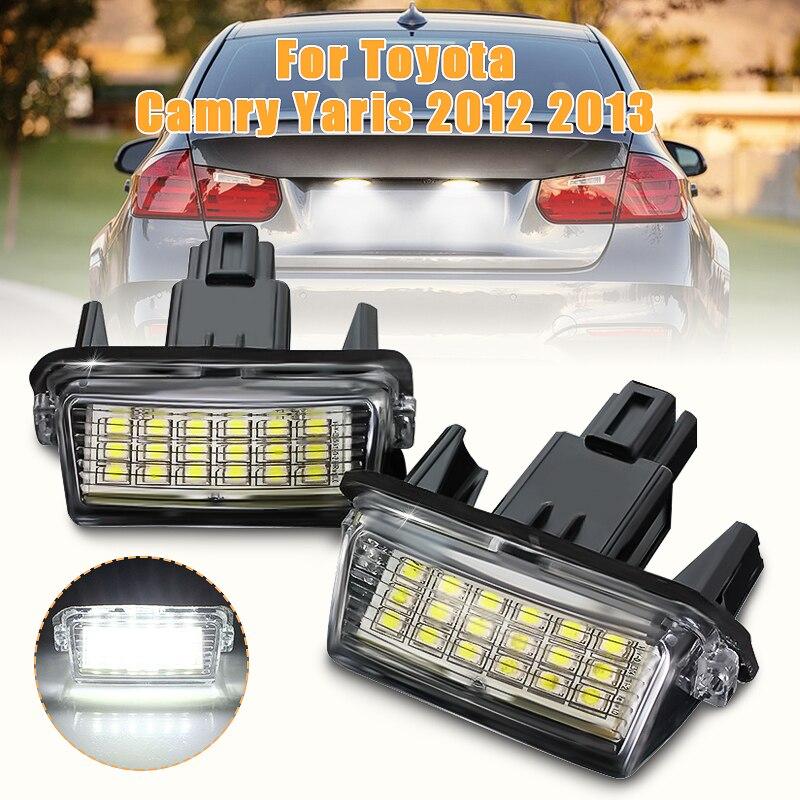 2X Error Free 18 LED Car Number License Plate Light For Toyota Yaris Vitz Camry Hybrid Corolla Avensis SAI Noah Prius C Verso S