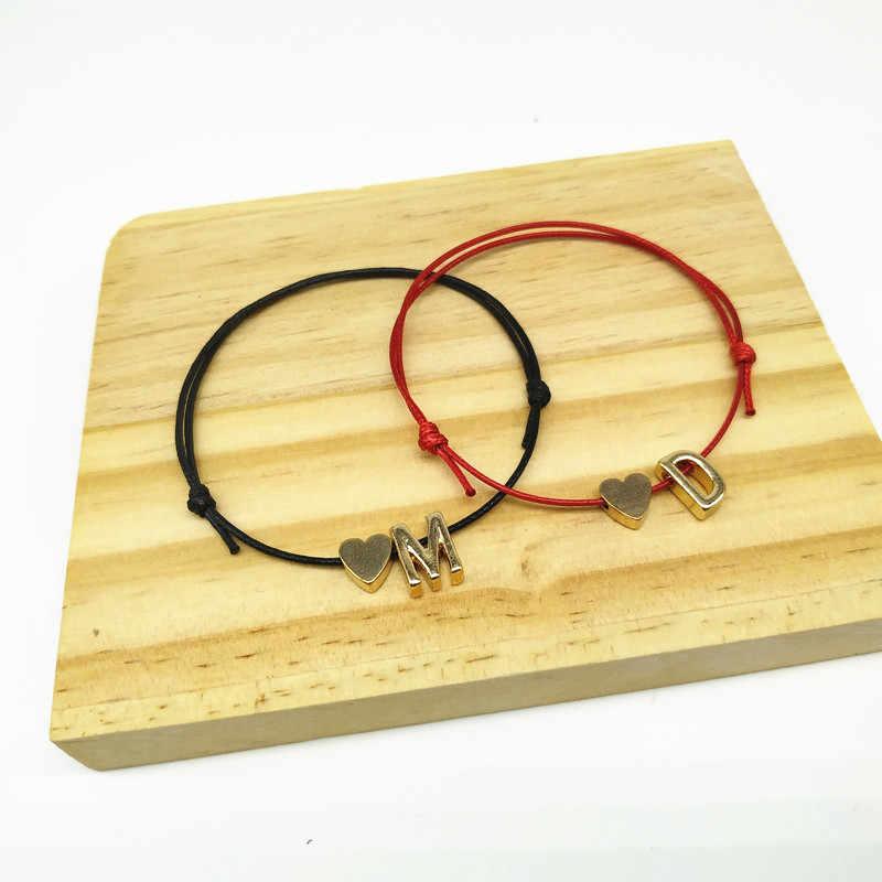 2019 nuevo Color oro pequeño corazón iniciales del nombre encanto carta pulsera para los hombres y las mujeres suerte cuerda rojo pulseras pareja regalos