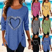 T-Shirt à manches longues et col rond pour femme, vêtement à la mode, avec cœur imprimé, 2021