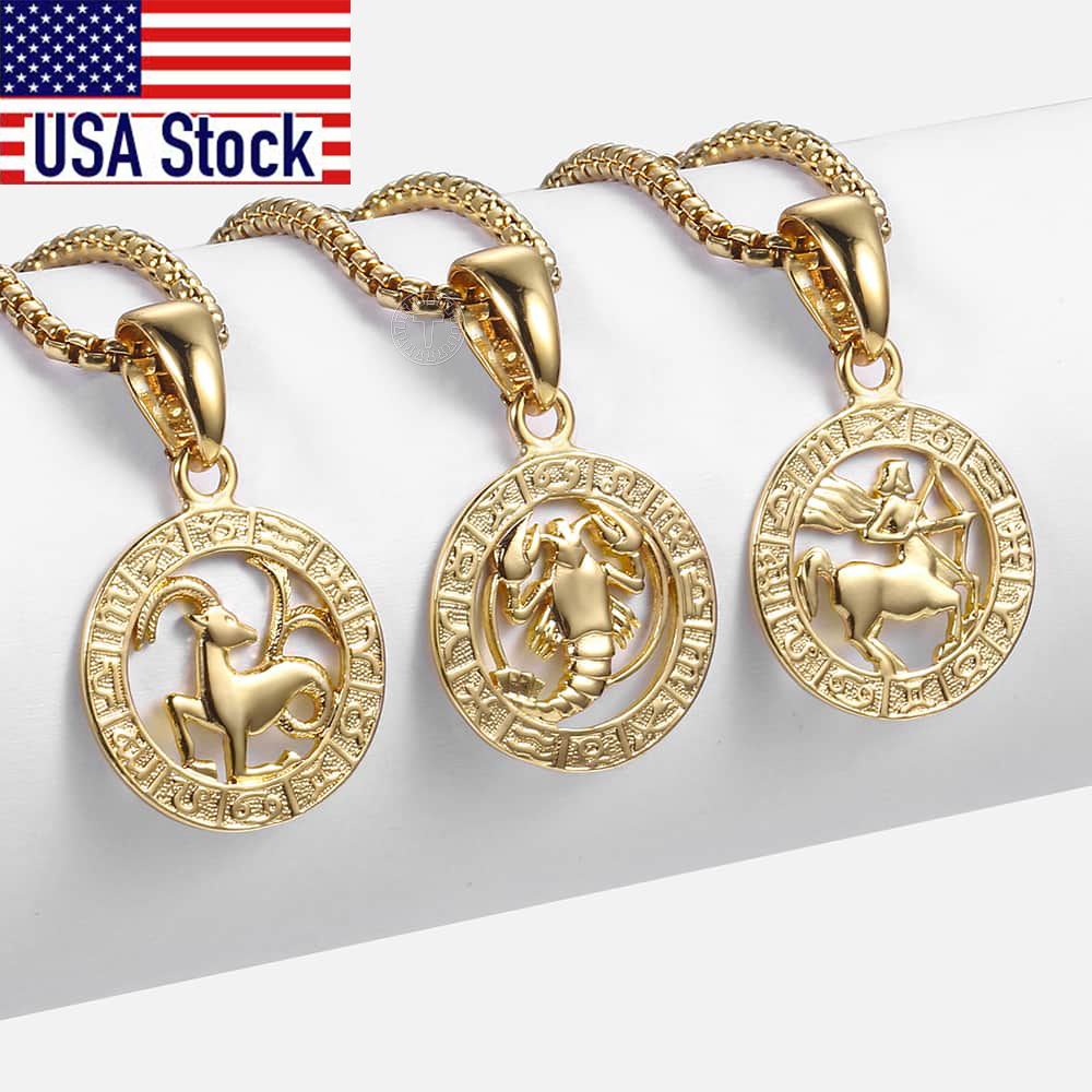 Hot Sale 12 Constellations Zodiac Sign Gold Pendant Necklace for Women Men Aries Leo 12 Horoscope Box Chain Gift Drop Shipping