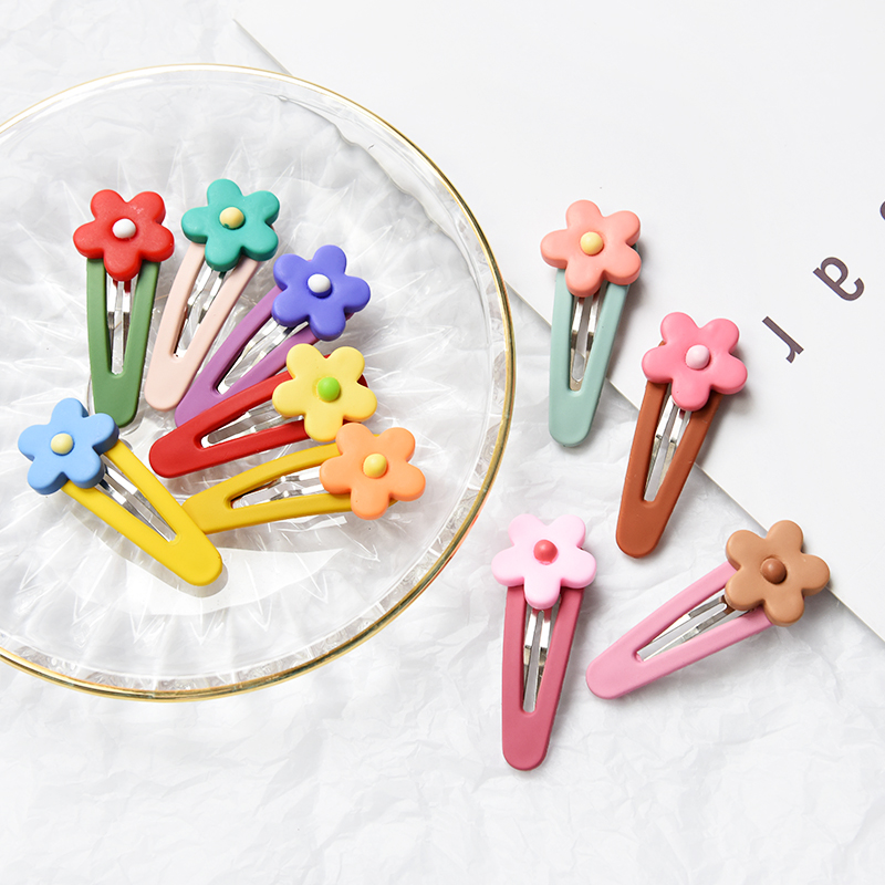 Children Cute Candy Flowers Barrettes Hair Clips Girls Colos Acrylic Hollow Waterdrops Ornament Hairpins  Kids Hair Accessories