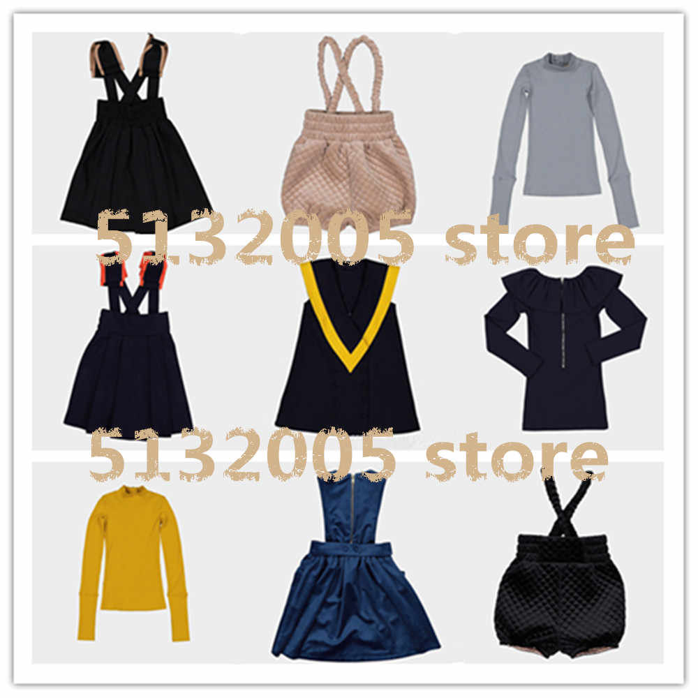 2019 Autumn and Winter New Carbon with The Same Girls Velvet Dress, Woolen Bow Tie Dress