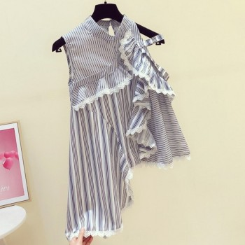 Irregular Lace Ruffled Off Shoulder Sleeveless Striped Shirt Female Top Girls Ladies Summer Blouse Blouses Blusas Mujer grey flap over detail off shoulder irregular hem t shirt