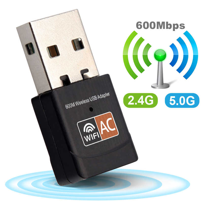 Wireless USB WiFi Adapter 600Mbps wi fi Dongle PC Scheda di Rete Dual Band wifi 5 Ghz Adattatore Lan USB ethernet Ricevitore AC Wi-Fi