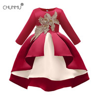 Christmas Kids Girl Wedding Flower Girls Dress Princess Party Lace Appliques Elegant Dress Winter Baby Girl Birthday Dress