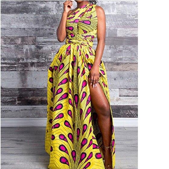 New Dress Summer Big Size 2020 Women For New African High Split One Shoulder Elegant Dress Ladies Floor Length Dresses Hot Sales
