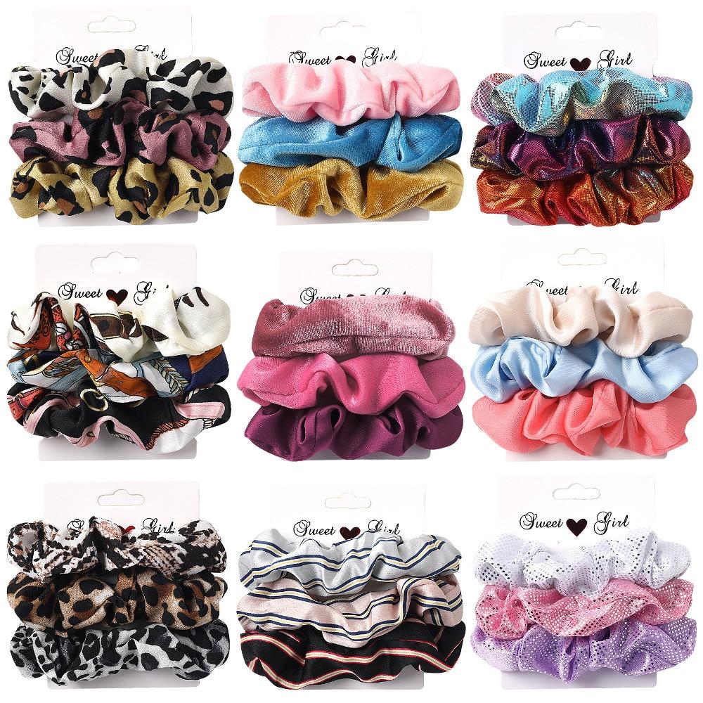 2020 NEW Hair Scrunchies Velvet Scrunchie Set Elastic Satin Hair Bands Fashion Headband Ponytail Ties Rope Hair Accessories Set