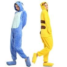 Adult Unicorn Pikachu Kigurumi Onesies Flannel Pajamas Family Party Halloween Animal Stitch Pijamas