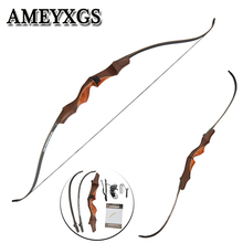 1pcs 60inch Recurve 30lbs Black Bow Wood For Profession Novice Outdoor Hunting Shooting Motion