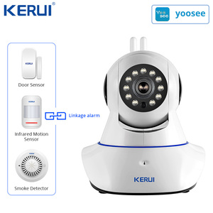 Image 2 - Kerui W18 WIFI GSM SMS Hause Einbrecher LCD GSM SMS Touch Screen Alarm Panel Home Security Alarm System IP Wifi kamera App Control