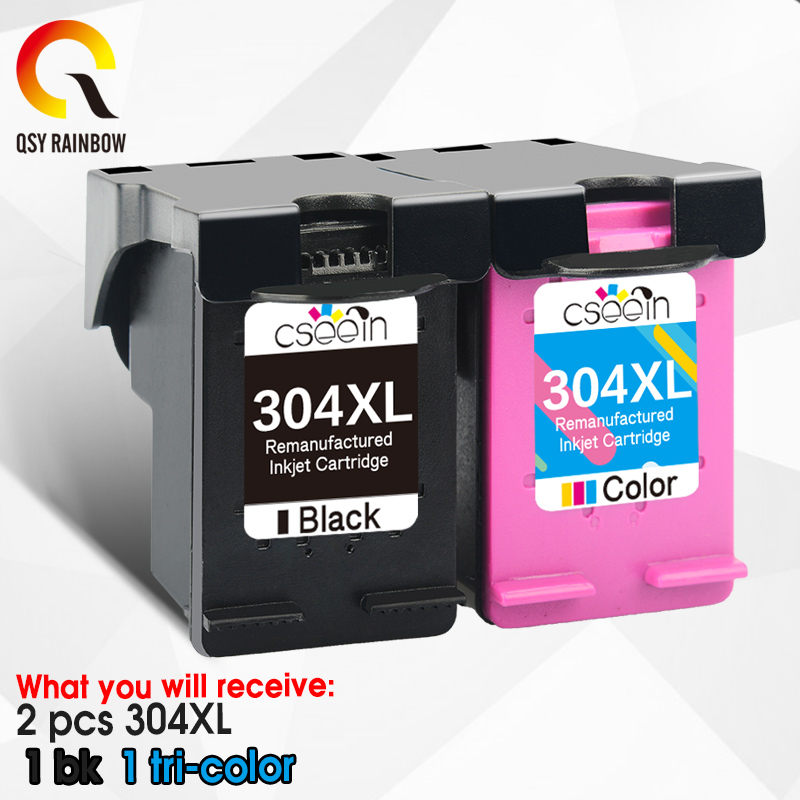 Qsyrainbow cartucho de tinta 304xl nova versão substituição para hp 304 hp 304 xl deskjet envy 2620 2630 5020 5032 3720 impressora