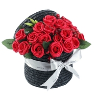 Big deal Valentine's Day Design Retro Woven Basket Red Rose Soap Flower Gift Box Bouquet Birthday Gift