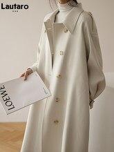 Lautaro Spring long oversized trench coat for women 2021 raglan long sleeve Korean style women clothes Runway loose fashion