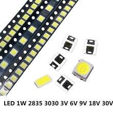 110 pces smd led 2835 3030 5730 chips 0.5w 1w 3v 6v 9v 18v 30v grânulos luz branca 130lm montagem em superfície pcb luz emissor de luz lâmpada do diodo