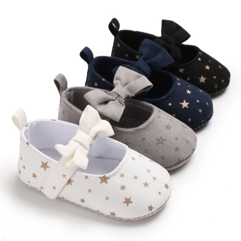 Bowknot Newborn Baby Girl Shoes Spring Star Print Cotton Baby Shoes First Walkers Comfort Casual Baby Girl Shoes