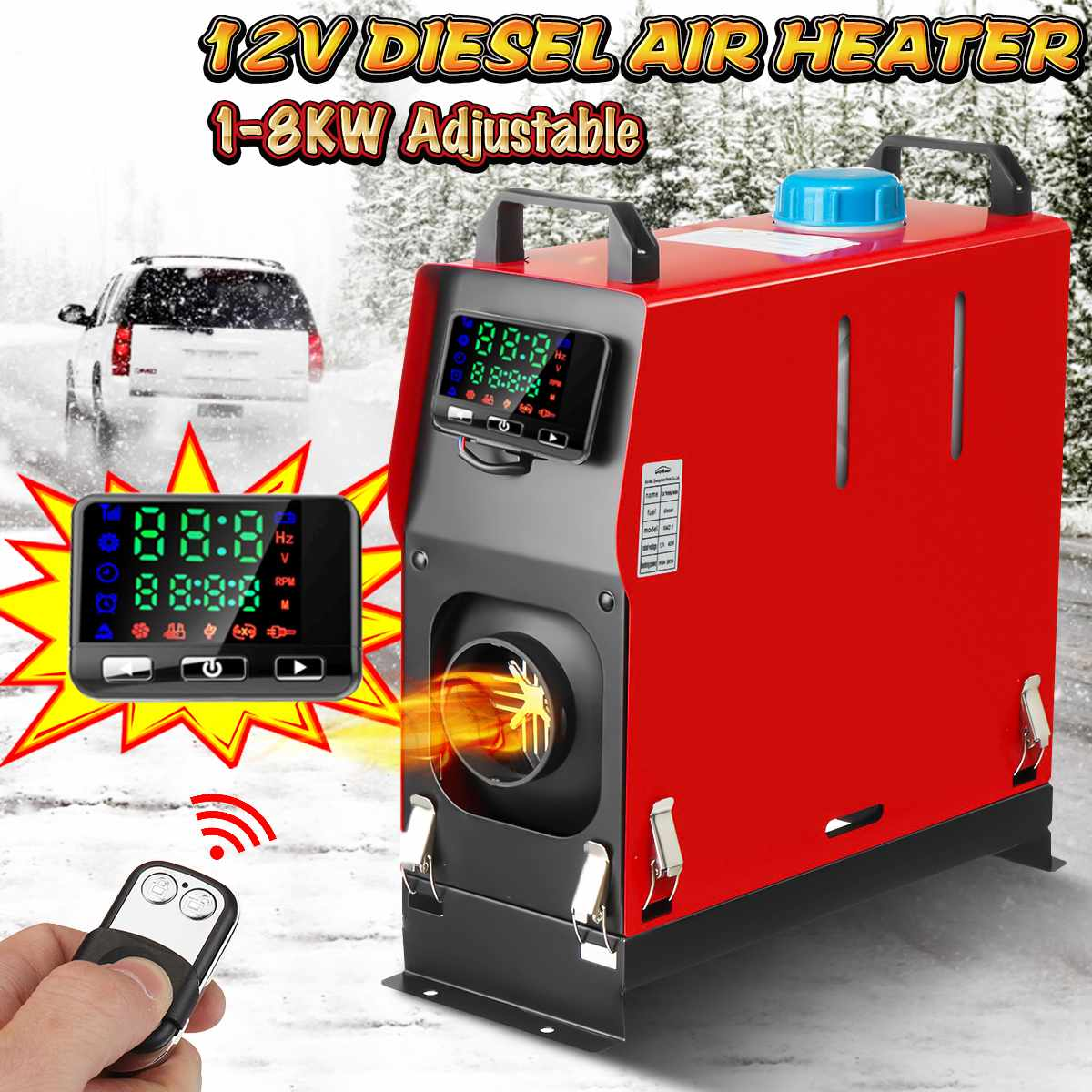 All In One 1-8KW 12V Adjustable Car Diesels Air Heater One Hole Car Heater For Trucks Motor-Homes Boats Bus+LCD Key Switch