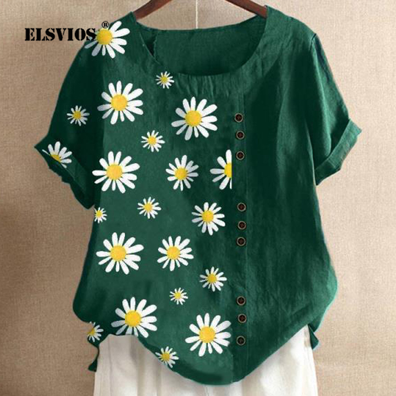 2020 Summer Daisy Print Buttons Blouse Shirts Elegant O-neck Cotton Linen Blouses Women Short Sleeve Top Pullover Blusa Feminina