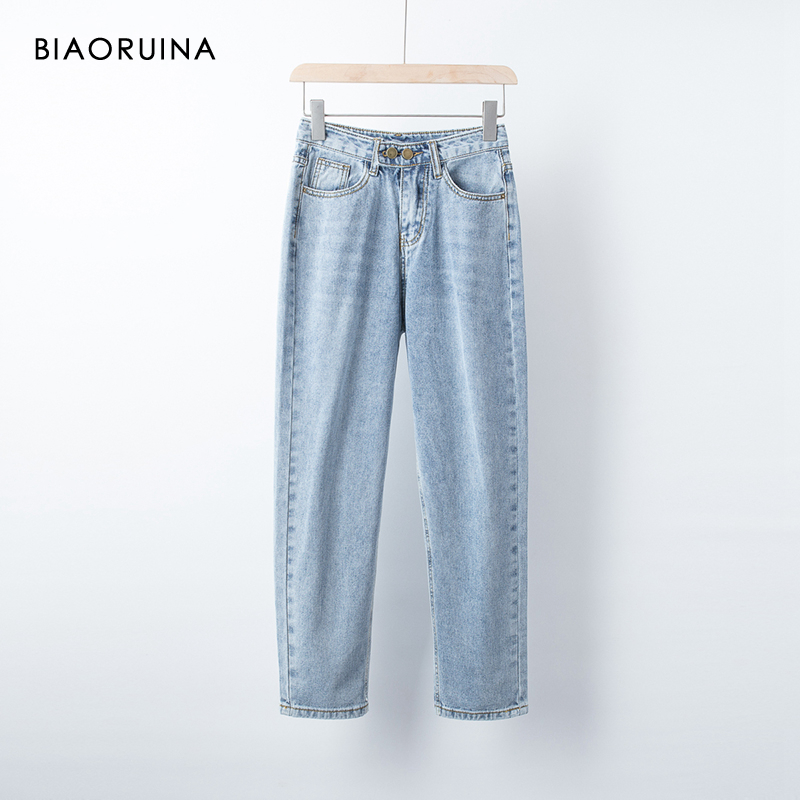 BIAORUINA Women's Washing Bleached Fashion Denim Jeans Moustache Effect Female Vintage Straight High Street Jeans 2019 Autumn