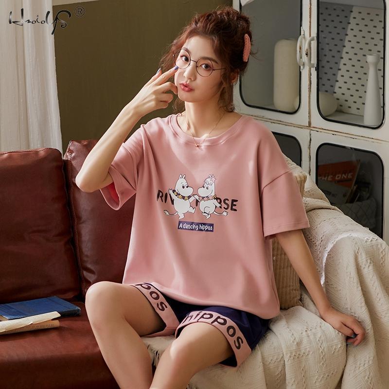Women's Pajama Set Summer Cotton Knit Nightwear Homewear Short Sleeve Sleepwear Set Cute Cartoon Lounge Wear T-shits Nightgowns