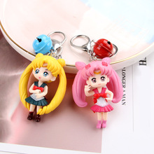 Hot selling sailor moon cartoon key chains female bell action figure key chain car water ice moon key ring backpack pendant thailand imports genuine gv new moon key pendant